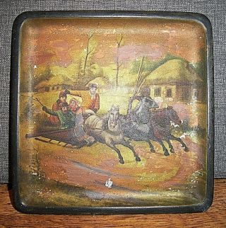 Vintage Russian Lacquer Art Tray With Snow Scene Of People On A Horse Drawn Cart