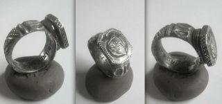Medieval Knights Crusader Silver Ring From The Hungarian Order Of The Dragon