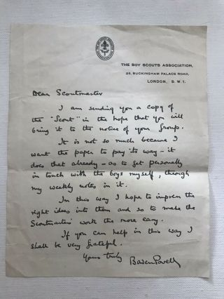 Vintage Scouting Memorial - Boy Scout Official Letter By Baden Powell