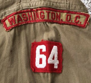 1930s - 40s Boy Scout Shirt w/Eagle scout type 2 Patch & Washington DC TRS Patch 3