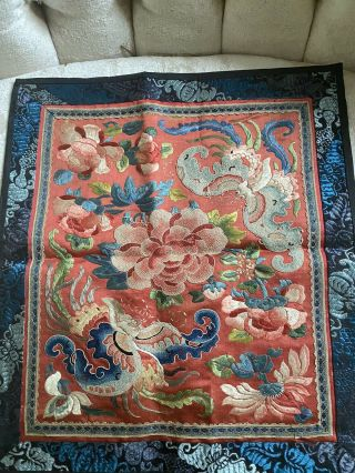 Antique Vtg Chinese Square Silk Embroidery Panel Forbidden Stitch Flowers Moths
