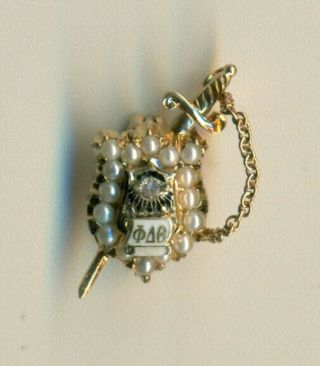 Vintage Phi Delta Theta Fraternity 14k Gold Jeweled Sweetheart Style Pin - Wow
