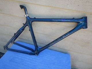"18 "" Vintage Giant Cadex Tcm Carbon Fiber Mountain Bike Frame Blue"