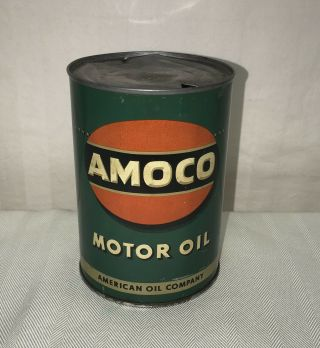Vintage Early Amoco One Quart Metal Oil Can Sign 1930 - 1940