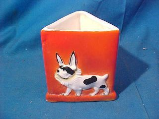 1920s Art Deco Era French Bulldog Decorated Porcelain Toothpick Holder