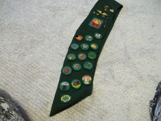 Vintage Girl Scout Sash With 7 Pins,  Wings Gs Patch & 26 Badges,  1950
