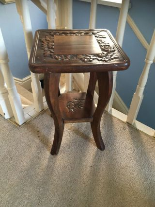 Arts & Crafts Liberty Of London Vintage Side Table Carved Top Bamboo Carved Legs