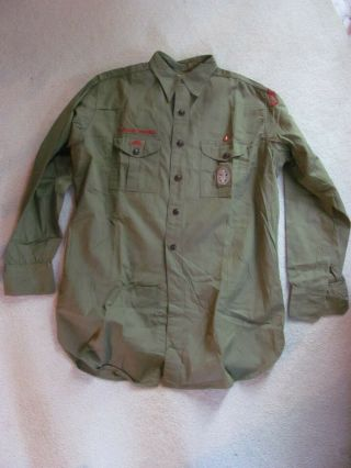 Shirt W/ Eagle Scout Type 2 Patch Bsa Boy Scouts Of America Hablo Espanol Patch