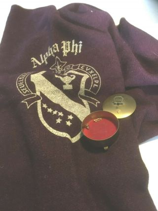 Alpha Phi Throw With Crest,  Burgundy With Gold Edging 60 X 38; Trinket Box,  Pins