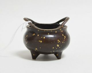 Antique Small Chinese Gold Splash Bronze Censer 18th Century Aing Dynasty