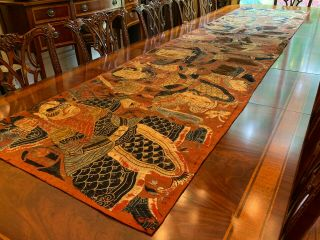 A Rare And Large Chinese Qing Dynasty Embroidered Folk Art Textile Panel.