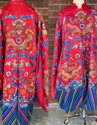 Vintage Antique Embroidered Red Silk Chinese Dragon Robe Coat Moths Bats