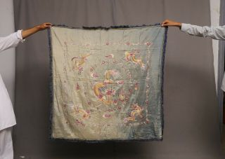 Antique Chinese Qing Dynasty Silk Embroidered Textile Panel Wall Hanging 46x46
