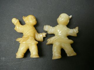 Finely Carved Chinese Yellow Jade Figures A Boy And A Girl,  Late 19th C