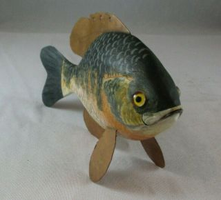 """Hand Carved 7 """" Sunfish Sculpture Composite Wood Copper Joyce Wright Wildlife Art"""