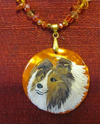 Shetland Sheepdog,  S & W,  Hand - Painted On Round Mop Pendant/bead/necklace