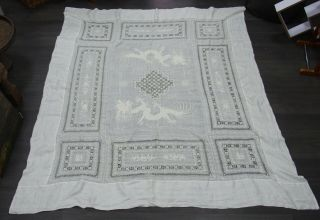 Large Fine Antique Chinese Embroidered Tablecloth - Dragons Chasing The Pearl