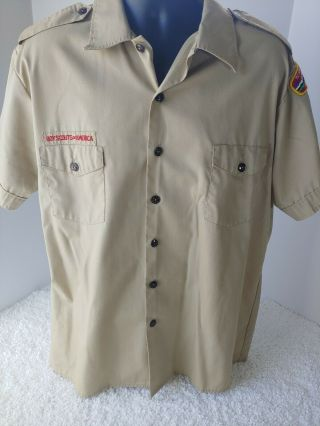 Vintage Boy Scouts Of America Uniform Shirt W/ Patches Size Xl