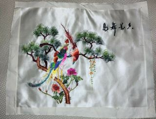 Vintage Asian Chinese Birds Floral Silk Hand Embroidery Panel