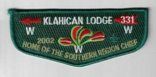 Boy Scout Oa 331 Klahican Lodge 2002 Home Of The Southern Region Chief Flap