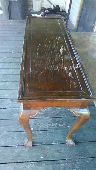 Vintage Carved Chippendale Style Sofa Table,  Console,  Ball And Claw