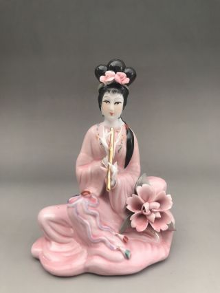 Chinese Hand Make Enamel Color Porcelain Play The Flute Beauty Girl Statue N003