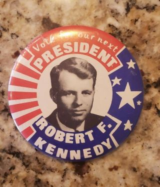 """Robert F.  Kennedy Rfk 1968 3.  5 """" Campaign President Pin Button Political Vintage"""