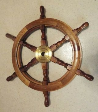 Solid Wood Boat Wheel Wall Decor 24 Inches Round Weighs 7 Lbs.  Read Look