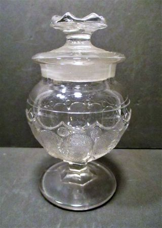 Miniature Apothecary Footed Jar,  Molded Pattern,  Late 19th C,