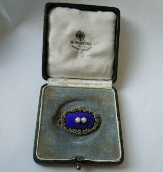 Imper.  Russian Faberge Design Enamel 84 Silver Brooch With Pearls