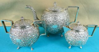 Stunning Indian Sterling Silver 3 Piece Tea Set Swirling Leaves Flowers C1880