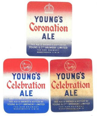 Old Beer Label/s - Uk - Coronation - Young & Co.  Ram Brewery,  2 Celebration