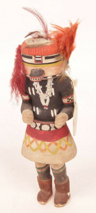 """Antique Hopi Kachina With Early Pigments And Clay C.  1940 8 """" Tall"""