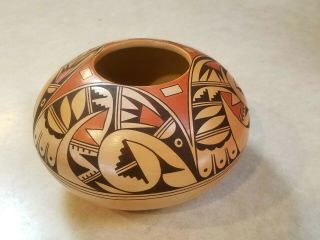 Fantastic Hopi Pueblo Indian Pottery Bowl By Irma David Rain Birds Great Design