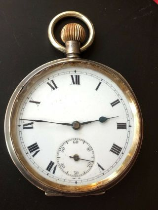 Antique Hallmarked Silver Pocket Watch 1917 Swiss Made Imported London.  925