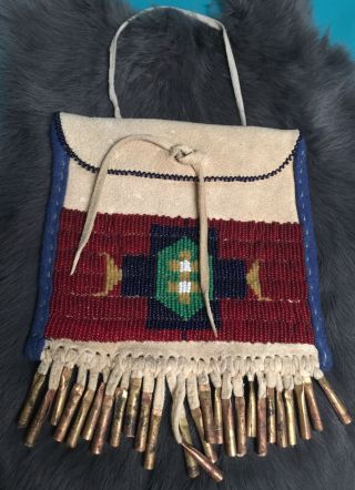 Vintage Native American Beaded Strike A Lite Bag Pouch Glass Beads Metal Cones
