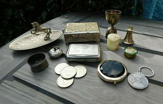 Various Vintage Silver Plate & Other Items Cigarette Box Tobacco Tin Boxes Etc