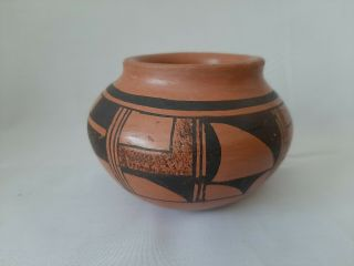 "Vintage Native Hopi Indian Joy Navasie "" Frog Woman "" Pottery Pot 4 "" X 3 """