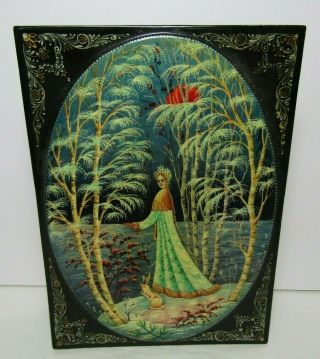 """Authentic Russian Lacquer Signed Hand Painted Box """" Snow Girl """" W/sparkles"""
