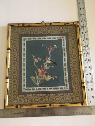 Vintage Asian Japanese Bamboo Frame Silk Needle Work Picture Floral Tree Bird
