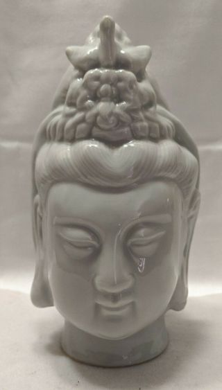 Large Vintage Blanc De Chine Porcelain Guan Yin Bust With Bird In Hair