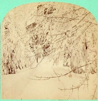 March 1870,  Snow Scene.  H.  A.  Kimball Stereoview Photo