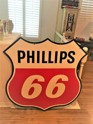 """Vintage """" Large """" Phillips 66 - Double - Sided Porcelain Sign - 47 """" Wide X 47 """" Tall"""