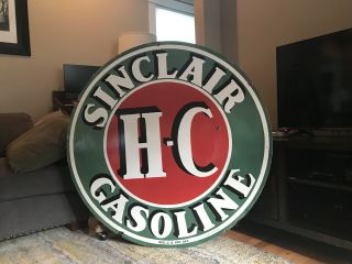 Large Sinclair Gasoline Double Sided Porcelain Sign 48""