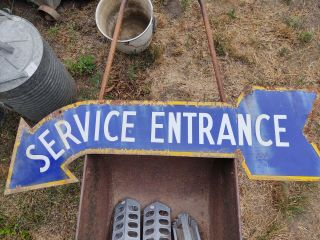 "Vintage Double Sided Porcelain "" Service Entrance "" Sign"