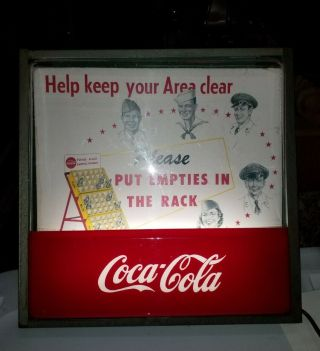 """Rare Vintage 1950s Coca - Cola Light - Up Sign - """" Please Put Empties In The Rack """""""
