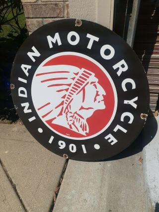 C.  1950s Vintage Indian Motorcycles Sign Dated 1929 Rare Sign 30 Inch