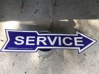 Service Arrow Sign Porcelain Double Sided 12 In 48 In