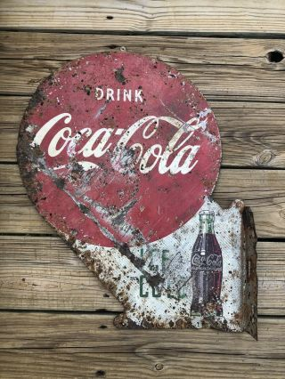 """Vtg 1950s Coca Cola Double Sided Flange Sign Gas Station Soda Advertising 23"""""""