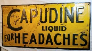 Rare Embossed Capudine Liquid For Headaches Large Painted Tin Sign Springfield,  O